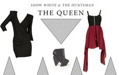 Snow White & The Huntsman Look 3 - The Queen: French Connection Sweetheart Stretch Black Jersey Dress £75 http://www.miinto.co.uk/p-13184-sweetheart-stretch-black-jersey-dress  Senso Delilah Ankle Boots Were £172 Now £120.40 http://www.miinto.co.uk/p-5520-delilah-ankle-boots  INSTYLE Maroon Skirt Dress £18 http://www.miinto.co.uk/p-12522-maroon-skirt-mixi-dress