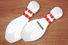 Einladungskarten Bowling zum Kindergeburtstag kostenlos ausdrucken