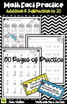 Practice those addition and/or subtraction math facts to 20 with these worksheets that scaffold the learning. There are 50 pages of practice in multiple formats along with reward tags and answer keys. Math Classroom, Classroom Activities, Math Fact Practice, Primary Maths, Teaching First Grade, Math Workshop, Math Concepts, Math Facts, Addition And Subtraction