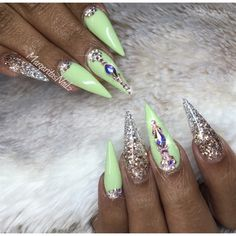 Lime Green And Rose Gold Silver ombré stiletto nails by MargaritasNailz