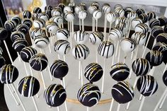 Black White and Gold Cake Pops By Simply Sweet Creations (http://www.simplysweetonline.com)