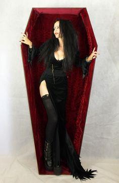 Helvira Dress - velvet Elvira Mistress of the Dark vampire dress by Moonmaiden Gothic Clothing