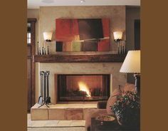 Tuscan fireplace with wood beam mantle, i really like this fireplace SO much better than ours. . .