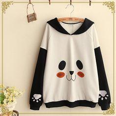 "use code: ""puririnhime"" to get 10% OFF everytime you shop at www.sanrense.com Cute harajuku panda printing lapel fleece pullover"