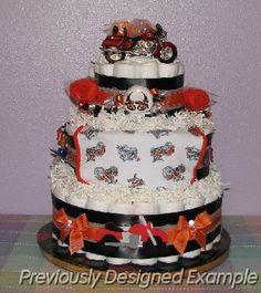Harley+davidson+baby+shower   Harley Davison Diaper Cake.