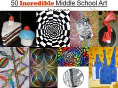 50 Incredible Middle School Art Lessons from The Art Teacher Middle School Art Projects, High School Art, Middle School Crafts, Art Doodle, Ms Project, 7th Grade Art, Ecole Art, Art Curriculum, Arts Ed