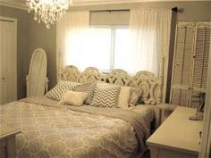 grey walls/ white bedroom  I could do this with my bedroom!