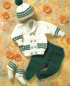 Diy Crafts - Instruction given for 12 in or 31 cm size Chest, larger sizes given in square brackets. Baby Boy Knitting Patterns Free, Baby Sweater Patterns, Baby Sweater Knitting Pattern, Knitting For Kids, Baby Patterns, Knitted Baby Outfits, Crochet Baby Jacket, Knitted Baby Clothes, Baby Boy Cardigan