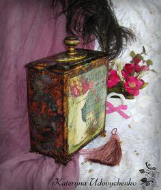 Handmade kitchen box. Decoupge.