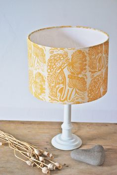 Made to Order  A beautiful floral lampshade inspired by the delicate, wild plant Queen Annes Lace.  Designed, carved & block printed by hand to give