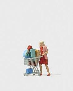 Individual Figures, Pedestrians -- Shopaholic w/Loaded Cart - HO-Scale (psr28081) Preiser HO Scale Model Railroad Figures