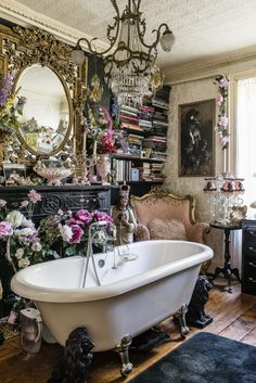 Paul and his builder installed the claw-foot bath Gothic Bathroom Decor, Goth Home Decor, Glamorous Bathroom, Gothic Room, Gothic House, Gothic Living Rooms, Victorian Gothic, Glamour Decor, Interior Decorating