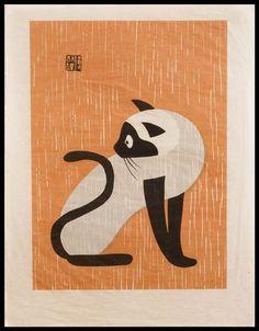 "Kiyoshi Saito - Cat Woodcut. ""Kiyoshi Saitō (斎藤 清 Saitō Kiyoshi?, April 27, 1907 – November 14, 1997, born in Aizubange, Fukushima), was a sōsaku hanga artist in 20th-century Japan. In 1938, he issued his first prints in his now famous ""Winter in Aizu"" series. Saito was one of the first Japanese printmaking artists to have won at the São Paulo Biennale in 1951."""
