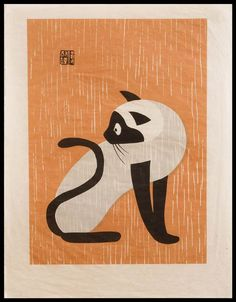 "Kiyoshi Saito - Cat Woodcut. ""Kiyoshi Saitō (斎藤 清 Saitō Kiyoshi?, April 27, 1907 – November 14, 1997, born in Aizubange, Fukushima), was a sōsaku hanga artist in 20th-century Japan. In 1938, he issued his first prints in his now famous ""Winter in Aizu"" series. Saito was one of the first Japanese printmaking artists to have won at the São Paulo Biennale in 1951."""