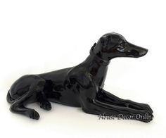 Large Resting Dog Black Silver Statue Sculptures by HomeDecorEasy, $149.00