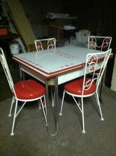 original 1950s red formica chrome dinette set table and four chairs for 350 chrome kitchen. Black Bedroom Furniture Sets. Home Design Ideas