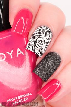 Hot pink and black nails,Fairy manicure, Nails design, Nails with glitters, Nail Art Gallery 2014 Trendy Nail Art, New Nail Art, Cute Nail Art, Fabulous Nails, Gorgeous Nails, Pretty Nails, Get Nails, Fancy Nails, Sparkle Nails