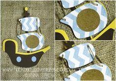pirate ship invitations...cut using a Silhouette Cameo