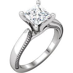 14kt White Gold Princess-Cut Engagement Ring