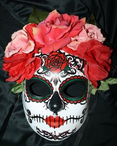 Red Roses Traditional Sugar Skull MASK for Day of the Dead.