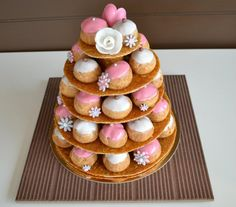 Choux Pastry, Pastry Cake, Candy Table, Dessert Table, Cream Puff Cakes, Holy Communion Cakes, Cake Tower, Eclairs, Profiteroles