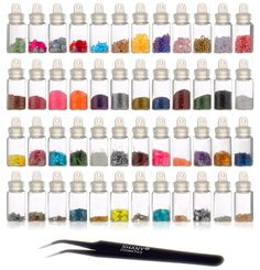 SHANY Cosmetics  3D Nail Art Decoration Mini Bottles with Nail Art Tweezer, 48 Count *** Unbelievable  item right here! : Glitter Makeup