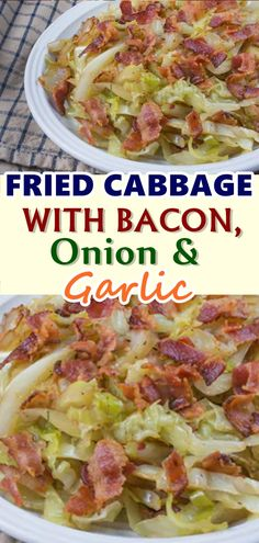 Fried Cabbage with Bacon Onion and Garlic .great soup starter or just stirfry Cooked Cabbage Recipes, Bacon Fried Cabbage, Onion Recipes, Recipe For Fried Cabbage, How To Cook Cabbage, Garlic Recipes, Vegetable Dishes, Vegetable Recipes, Gourmet