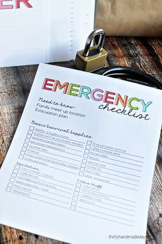 Printable Emergency Checklist. Be organized in case of an emergency with this checklist.