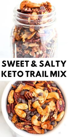 Jan 2020 - This sweet & salty keto trail mix is so easy to make and it's the perfect snack to have on hand when those cunchy cravings hit! Keto Foods, Ketogenic Recipes, Keto Snacks, Low Carb Recipes, Diet Recipes, Healthy Snacks, Ketogenic Diet, Dessert Recipes, Keto Sweet Snacks