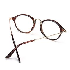 Unisex Vintage Clear Lens Eyeglasses Round Frame Matal Retro Plain Glasses at Banggood