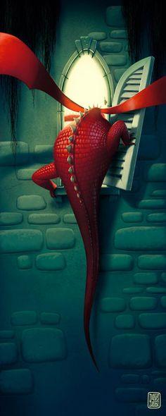 Dragon in the Castle #illustration #dragon