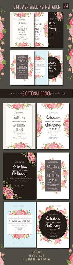 6 Floral Wedding Invitation Template AI #design Download: http://graphicriver.net/item/6-floral-wedding-invitation/13090147?ref=ksioks