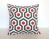 Decorative Throw Pillow Cover. 18 X 18 Inch Cherry Red  and Charcoal Couch Pillow Cushion Cover