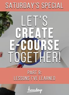 Lessons I learned while creating my eCourse http://therandomp.com/blog/lessons-i-learned-while-creating-my-own-ecourse
