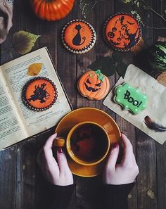 Halloween cookies and coffee. Spooky perfection.
