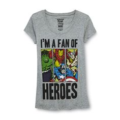 Mighty Fine- -Junior's Marvel Superheroes Tunic T-Shirt - I'm a Fan-Clothing-Juniors-Graphic Tees