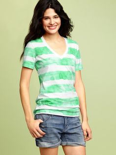 Gap Watercolor Striped Shirt, Green