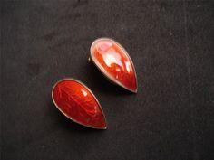 Signed IVAR T HOLT Norway Sterling Silver Red Enamel Tear Drop Leaves EARRINGS