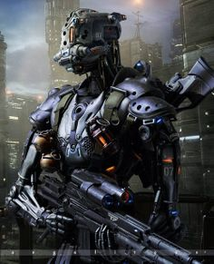 Armed with badassery #Cyborg #Robot #SciFi | Various Cyber Soldiers 105