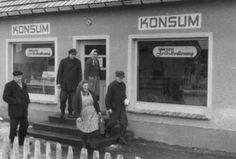 Customers and shop at Kruckow, Neubrandenburg, East Germany, 1960