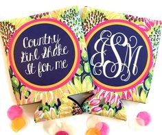 Sunflowers Party koozies. Floral party favors. Charleston bachelorette koozies