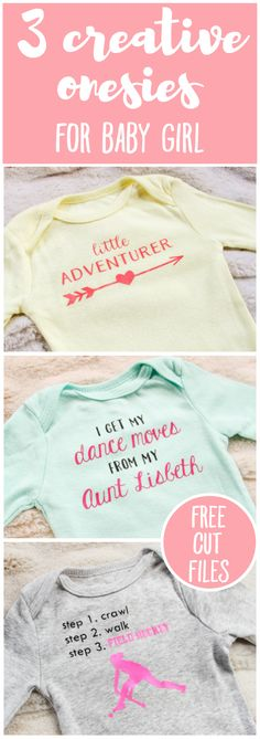 3 Creative Onesies for Baby Girl & FREE Silhouette Cut Files | There's really no better baby shower gift than a custom, personalized onesie! So, brace yourself for 3 adorable new onesie designs, each of which can be adapted to suit the parents and the baby (girl, boy, or gender neutral). And this post has tons of great tips for working with heat transfer vinyl, too! Nab these free files and happy creating.