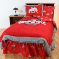 Ohio State Buckeyes Bedding in official team colors of scarlet red and gray with logo for the Ohio State University student, alumni or Ohio State Buckeyes sports team fan available in king, queen, full, twin, and twin xl sizes.