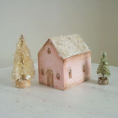Handmade Painted Wooden House with Bottlebrush Trees- Vintage Style Mica- Little Pink House Set. $20.00, via Etsy.