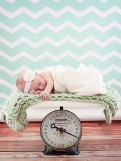 Photography Backdrop 5ft x 7ft, Vinyl Photography Backdrop, Minty Chevron Stripe Backdrop.