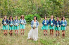 Bride & Bridesmaid In Jean Jackets