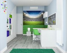 Kinderzimmer Wandgestaltung Ideen Fototapete Fussball Feld Junge  Pastellblaue