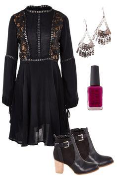 Winter LBD Outfit includes Lavish, Sass, and Nicole Fendel - Birdsnest Fashion Clothing