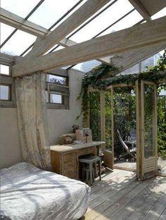 indoor-outdoor bedroom.