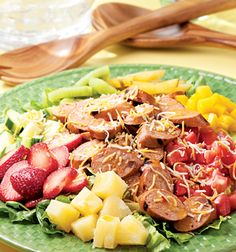 You've got to try this Caribbean Cobb Salad with Sweet & Smoky BBQ Chicken Sausage!